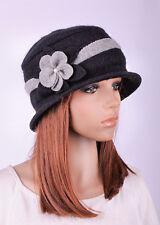 M390 Black Cute 2-Tone Flower Acrylic Wool Women's Winter Bucket Hat Cloche Cap