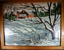 Vintage Paint By Numbers Snowy Winter Farm Scene Trees & Red Barn In Wood Frame
