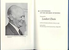 Lambert Davis Statesman Republic of Books Numbered 171/200  First 1970