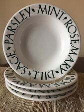 Set of 4 Pier 1 Imports TRE CI  Herb Rimmed Pasta/Soup/Salad Bowls ITALY
