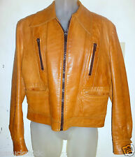 Retro 70s Camel Whiskey Brown Leather Disco Jacket 38 40 Medium M Cafe Racer