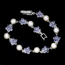 Sterling Silver 925 Genuine Naturat Tanzanite & Button Pearl Bracelet 7.5 Inch