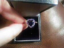 NEW GORGEOUS 2ct BLUE SAPPHIRE + BLUE SAPPHIRES STERLING SILVER HEART RING SZ O