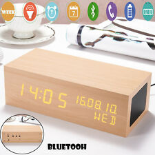 LED Rectangle Wooden Alarm Clock Speaker Wireless Bluetooth Snooze Thermometer