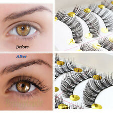 10 Pairs Fashion Makeup Handmade Black Long False Eyelashes Curl Fake Eye Lashes