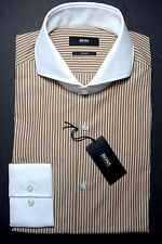 NWT Hugo Boss Men's Johan Slim Fit Meddle Brown Striped Cotton Dress Shirt 38 15