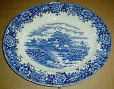 Salem China Co Ltd Oval Platter Plate ENGLISH VILLAGE Blue And White Meakin
