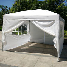 10'x10'EZ Pop UP Wedding Party Tent Folding Gazebo Canopy W/ SIDES & Carry Bag