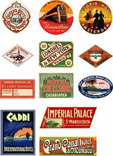 Vintage Style Travel Suitcase Luggage Labels Set Of 12 vinyl stickers set 2