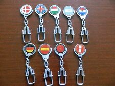 9 rare 1986 WORLD CUP Keychains Canada Argentina USSR Paraguay Spain HUNGRY +
