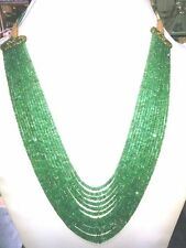 450 ct+ Designer 13 Strand Natural Emerald Stone Beads 2mm * 4mm Heavy Necklace.