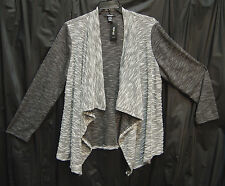 WOW~NUBBY MARLED COLOR BLOCK OPEN DRAPE FRONT CARDIGAN SWEATER JACKET TOP~2X~NW
