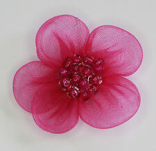 10 X Handmade Organza Flowers Sew On Appliques Colour: Cerise #1