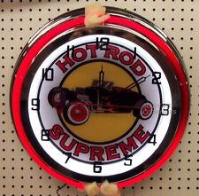"18"" Classic HOT ROD SUPREME Street Rod Sign Double Neon Clock"