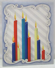 Vintage Christmas Greeting Card Multi Color Candles Mirror Flame Art Deco  Used