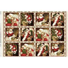Santa Claus Father Christmas Holiday 100% Cotton Quilting Fabric 12 Panels