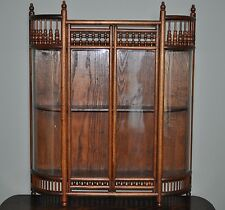 Victorian Oak Stick and Ball Curved Glass Display Curio Cabinet