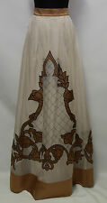 Temperley London Ivory/Brown Mix Long Silk Skirt Size 8        #3