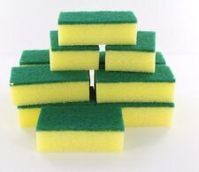 LOT OF 36X MULTI-PURPOSE KITCHEN WASH CLEANER YELLOW GREEN SPONGE SCRUBBER PADS