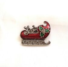 Rare Judith Jack Sterling Silver w/Marcasites Enamel Christmas Sleigh Brooch Pin