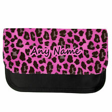 PERSONALISED PINK LEOPARD PRINT SCHOOL PENCIL CASE/MAKE UP BAG BIRTHDAY XMAS
