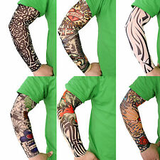 6 Pcs Fake Nylon Temporary Tattoo Sleeves Arm Stockings Tatoo For Cool Men Women