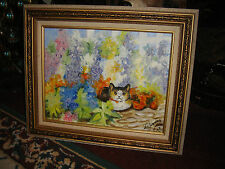 Lovely Cat Oil Painting On Canvas-Floral-Signed Le Jeanne?-Framed-Flower Cat