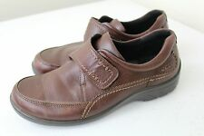 ECCO Women's Wave Munk Mahogany 14593 Slip-On Leather Shoes EUR 38, US 7 - 7.5