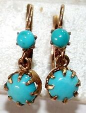 ANTIQUE FRENCH VICTORIAN 18k GOLD TURQUOISE 2 STONE FINE DANGLE EARRINGS c 1900