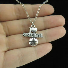 "7-1 18"" Silver Chain Collar Choker Necklace Sports I Love Basketball Pendant"