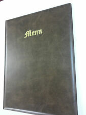 A4 MENU COVER/FOLDER IN BROWN LEATHER LOOK PVC - OLD ENGLISH LOOK