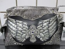BLACK RHINESTONE STUD WESTERN HANDBAG W/ ANGEL WING/CROSS ACCENT