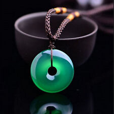 AAA Natural Jade Green Peace Button Pendants Agate Women Mens Rope Necklace