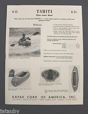 VINTAGE TAHITI ONE-MAN BOAT FLYER BROCHURE KAYAK CORP. NEW YORK