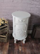 NEW White Shabby Chic Round Bedside Table Cabinet w/ Cupboard Drawer