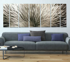 "Large Modern Abstract Hand Crafted Metal Wall Art Sculpture ""Silver Plumage XL"""