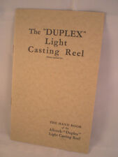 VINTAGE ALLCOCK THE DUPLEX LIGHT CASTING REEL WITH ADVERTISING FISHING CATALOGUE