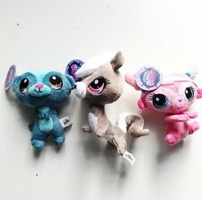 Lot Littlest Pet Shop Plush Pet Figure Pepper Clark /Pink Minka / Sunil Nevia
