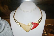VINTAGE RED AND CREAM ENAMEL ON GOLD TONED METAL CHAIN CHOKER CASUAL NECKLACE