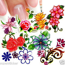 Nail Art Decal Water Slide Transfer Flowers Style Stickers 11 in 1 W34 Lot