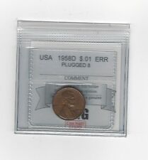 **1958D** USA,  Small Cent, Plugged 8, Coin Mart **
