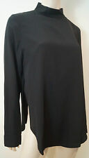 TIBI Black 100% Silk High Neckline Long Sleeve Formal Blouse Top UK10 BNWT