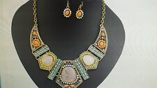 Orange Coral Teal Blue Green Necklace Earrings Jewelry Set Stunning Chunky 20""