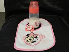 reborn baby bottle (Disney Minnie mouse 9 oz) fake milk,bib and magnetic dummy