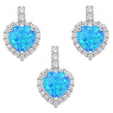 NEW BLUE FIRE OPAL & CZ HEART .925 Sterling Silver Earring & Pendant Gift Set