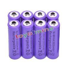 8x AA 3000 mAh de la batería recargable Ni-MH 2A púrpura para MP3/RC/Cámara