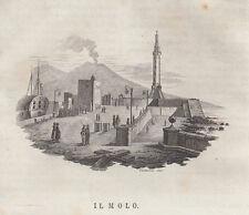 Napoli Il molo incisione in rame 1839