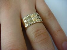 14K GOLD WIDE 3 ROW DIAMONDS LADIES RING BAND 9.5 GRAMS, SIZE 5.75, 10MM WIDE
