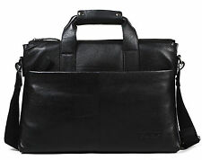 "Men Real Leather Briefcase Attache Case 16"" Laptop Shoulder Messenger Bag Black"