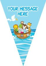 BP38 Noahs Ark 1st birthday baptism Flag bunting decoration 3m Personalised